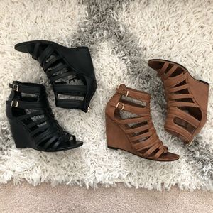 Express caged wedge heels black and camel 7